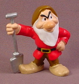 Disney Snow White Grumpy With A Shovel Dwarf PVC Figure, 2 1/8 Inches Tall, Figurine, Applause