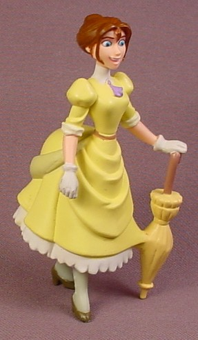Disney Tarzan Jane in Yellow Victorian Dress with Bustle PVC Figure, 3 5/8 Inches Tall