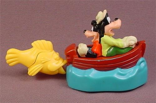 Disney Burger King 1995 Goofy & Max Movie Boat Toy, 2 1/4 Inches Tall