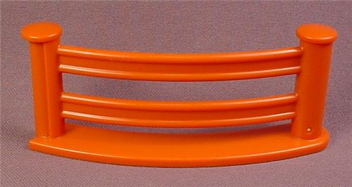 Playmobil 123 Orange Brown 1/8 Circle Zoo Or Farm Fence Or Corral, 4 Inches Long, Connect Together