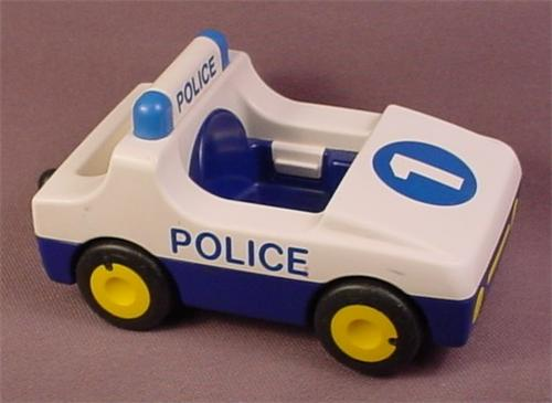 Playmobil 123 White & Blue Police Car With A Hitch And A Number 1 On The Hood, 6709
