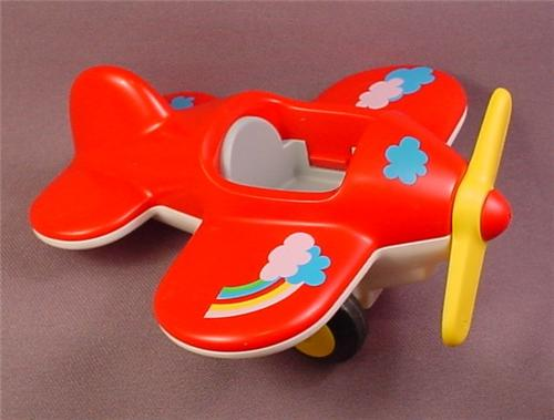 Playmobil 123 Red Airplane with Yellow Propeller, Clouds & Rainbow Design on Wings