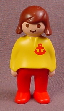 Playmobil 123 Adult Female Figure With A Yellow Shirt With A Red Anchor Pattern, Red Pants
