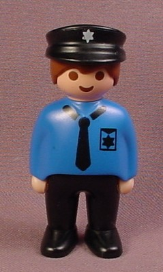 Playmobil 123 Adult Male Police Officer Figure With Brown Hair & A Black Police Hat, Blue Uniform