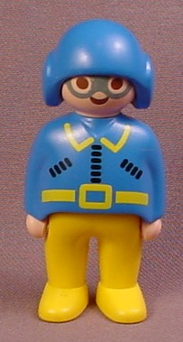 Playmobil 123 Adult Male Pilot Figure With A Blue Helmet & Silver Goggles, Blue Jacket