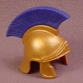 Playmobil Gold Roman Helmet with Blue Front to Back Crest, Tribune, Centurion, Soldier