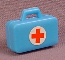 Playmobil Blue Medical Kit with Red Cross Sticker, Opens, Vintage 1976, 3237x