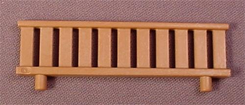 Playmobil Brown Low Wooden Fence or Wall with 2 Pegs in the Bottom, 2 5/8 Inches Long