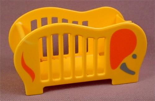 Playmobil Yellow or Gold Baby Crib Shaped Like an Elephant, 3207, Has an Elephant Pattern