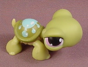 Littlest Pet Shop 149 Turtle With Blue Water Drop Splash On Shell Purple Eyes 2004 Hasbro Rons Rescued Treasures
