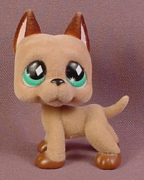 Littlest Pet Shop #636 Light Brown Fuzzy Or Flocked Great Dane Puppy Dog With Green Eyes