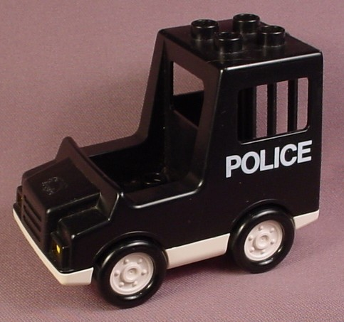 Lego Duplo 2244 Black Police Truck Vehicle With White Base, Police Pattern On The Side