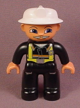 Lego Duplo 47394 Male Articulated Firefighter Figure With Moustache, White Fireman's Hat, Vest