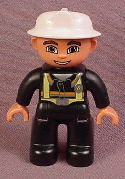Lego Duplo 47394 Male Articulated Firefighter Figure With Black Clothes & White Fireman's Hat