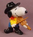 Snoopy Fiddle Player Cowboy PVC Figure With Black Hat & Boots, 2 1/4 Inches Tall, Peanuts