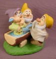 Disney Snow White Dwarfs Dopey Happy & Sneezy Washing In Water Trough PVC Figure