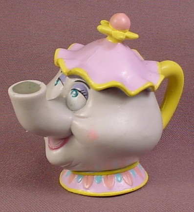 Disney Beauty & The Beast Rubbery Mrs Potts Figure, Bendy, 2 7/8 Inches Tall, Figurine