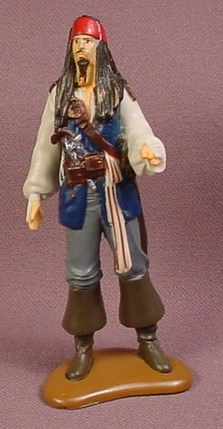 Disney Pirates Of The Caribbean Captain Jack Sparrow PVC Figure On A Base, 3 1/4 Inches Tall