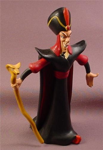 Disney Aladdin Movie Rubber Bendy Villain Jafar Figure With Cobra Snake Staff & Removable Cape