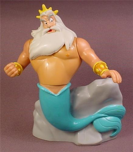Disney The Little Mermaid King Triton Ariel's Father PVC Figure, 4 3/4 Inches Tall,  Swivels
