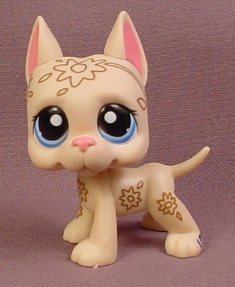 littlest pet shop deco tan great dane puppy dog with blue eyes has flower patterns rons. Black Bedroom Furniture Sets. Home Design Ideas