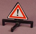 Playmobil Black Triangular Triangle Sign With Swiveling Base Or Stand, Exclamation