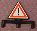 Playmobil Black Triangular Triangle Sign, Exclamation Point Stickers Applied To Both Sides