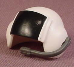 Playmobil White Pilot Helmet With Raised Fixed Black Visor & Attached Microphone, 4342 4445 5859