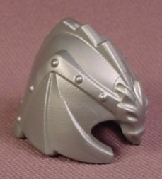 Playmobil Silver Gray Winged Dragon Shaped Helmet With Cheek Guards, 4147 4160 4836