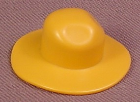 Playmobil Mustard Yellow Wide Brim Hat With A Tall Crown With 2 Indents And A Brim That Flops Down
