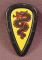 Playmobil Black Teardrop Shaped Shield With Red Dragon Serpent On A Yellow Background