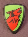 Playmobil Black Teardrop Shaped Shield With Red Wolf On A Green Background, 4440 5803