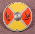 Playmobil Silver Gray Round Shield With Black Flying Serpents On Red & Yellow Background