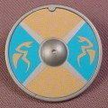 Playmobil Silver Gray Round Shield With Tan Flying Serpents On Blue & Gold Background, 3155