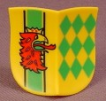 Playmobil Yellow Double Concave Shield With Red Griffon & Green Diamonds, 3123 3887 5788, 30 63 3250