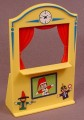 Playmobil Light Yellow Puppet Show Booth with Red Curtains & Clock, Stickers Applied