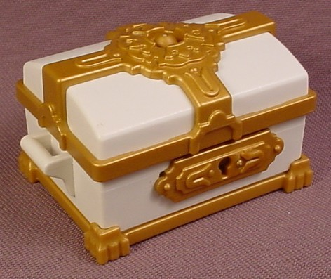 playmobil white treasure chest or trunk with a sliding lock ornate