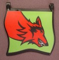 Playmobil Black Square Medium Sized Flag With A Red Wolf On A Green Background Sticker