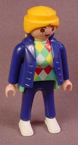 Playmobil Adult Female Figure In A Dark Blue Vest & Pants And A Shirt With A Diamond Pattern
