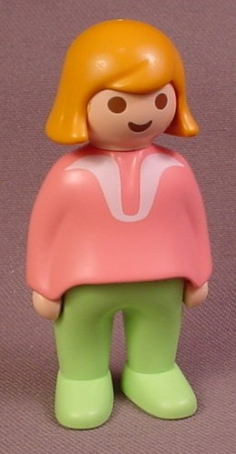 Playmobil 123 Adult Female Figure With Pink Top With White Trim, Light Green Legs, Orange