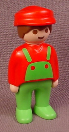 Playmobil 123 Adult Male Figure With Green Overalls, Red Shirt & Hat, Brown Hair, 6605