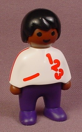 Playmobil 123 African American Boy Child Figure With White Shirt With Red 123 Design, Purple