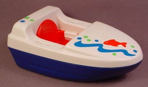 Playmobil 123 White Boat With Red Seat, Fish & Waves Pattern, 6608