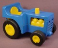 Playmobil 123 Blue Farm Tractor With Yellow Seat & Engine, Black Hitch That Moves 6605
