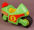 Playmobil 123 Green Motorcycle That Can Make A Clicking Sound Or Not, 6719