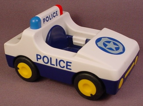 Playmobil 123 White & Blue Police Car With Blue & Gray Badge, Black Hitch That Moves 6709