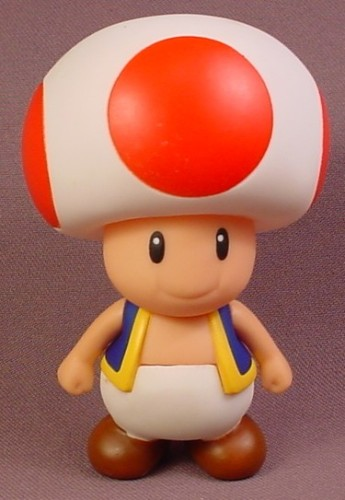 Nintendo Super Mario Brothers Toad Figure, 4 Inches Tall, Arms Move, Head Swivels