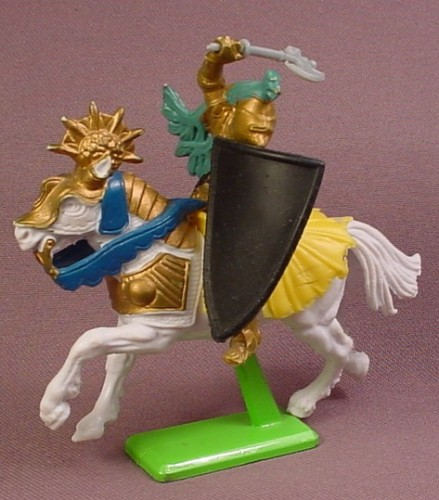 Britains 1971 Deetail Gold Knight On A White Horse With Yellow Blanket, 3 5/8 Inches Tall