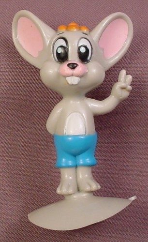 Mighty Mouse 1989 Scrappy Mouse PVC Figure On A Suction Cup Base, 3 Inches Tall, Viacom
