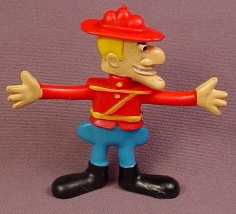 Dudley Do Right 1985 Rubber Or Vinyl Figure, 2 1/2 Inches Tall, Dudley-Do-Right, Mountie